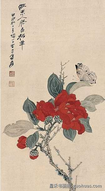 牡丹白描中国画着色作品赏析