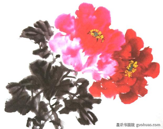 牡丹写意国画全开的花头画法