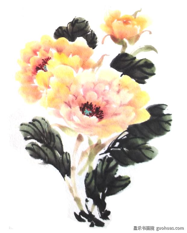 牡丹画写意中国画法