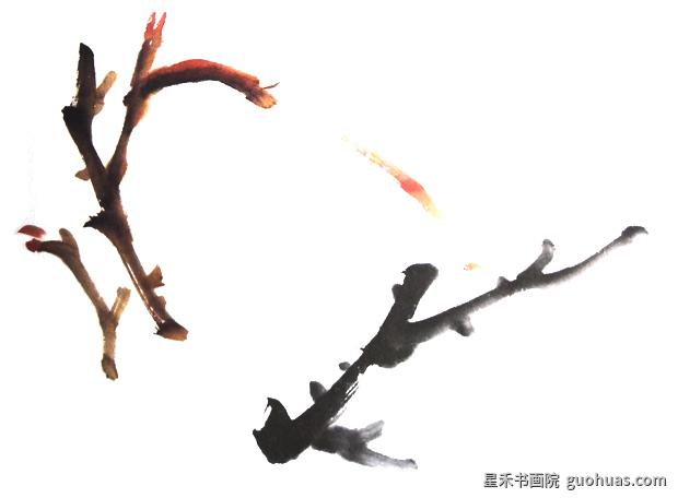水墨画牡丹花枝的画法
