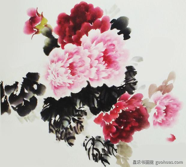 水墨画牡丹花的画法