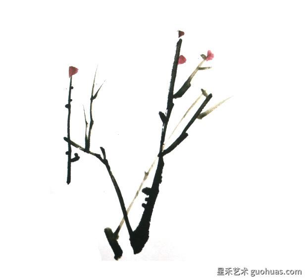 牡丹水墨画花枝的基本画法