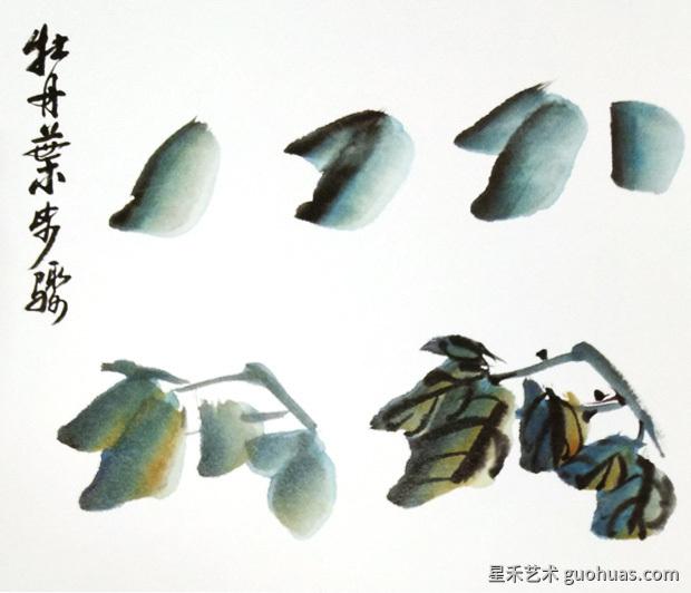 中国画牡丹叶片的画法