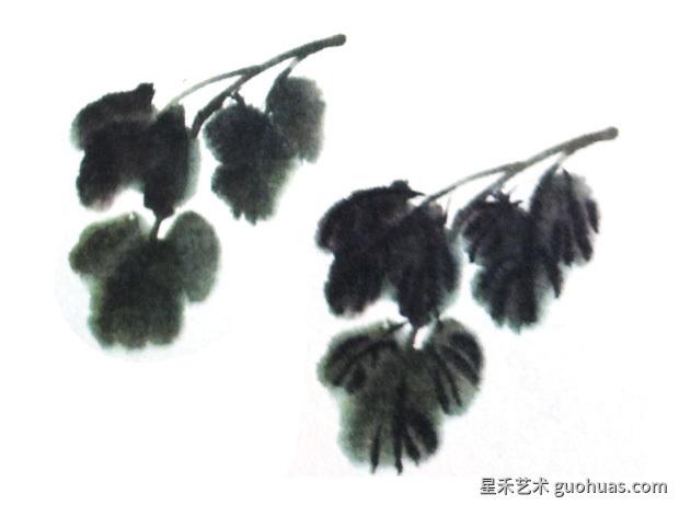 中国画牡丹怎么画之牡丹叶子的画法