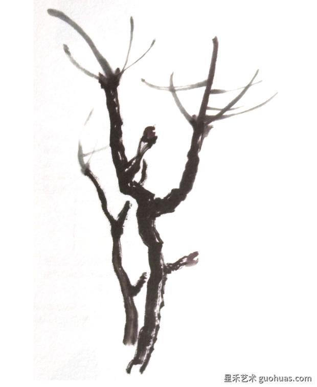 国画牡丹如何画之树枝的画法