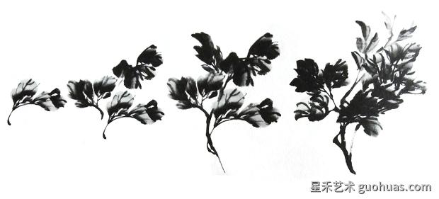 水墨画牡丹叶子的画法
