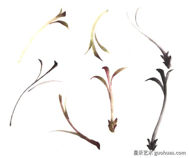 水墨画牡丹花茎的画法