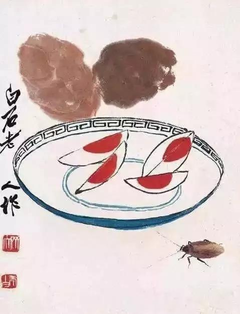 齐白石国画粽子画法-端午咸鸭蛋