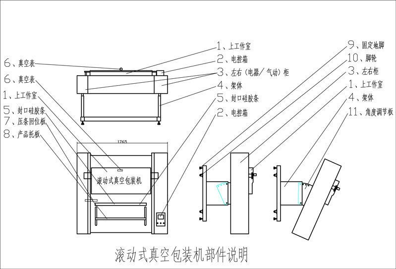 滚动式真空包装机部件说明