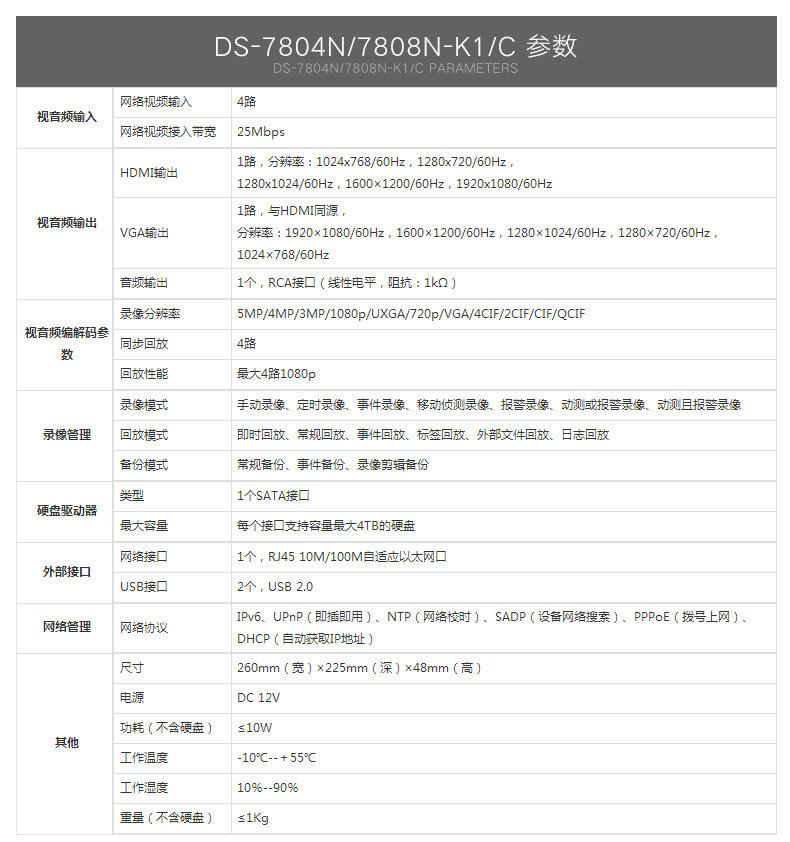 海康DS-7804N-K1硬盘录像机