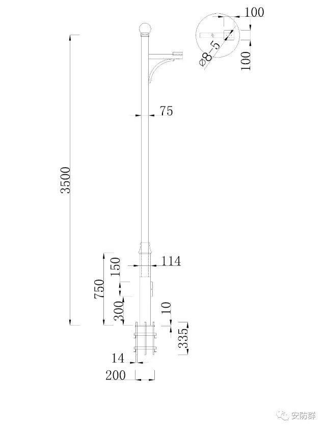 常用监控立杆设计图纸
