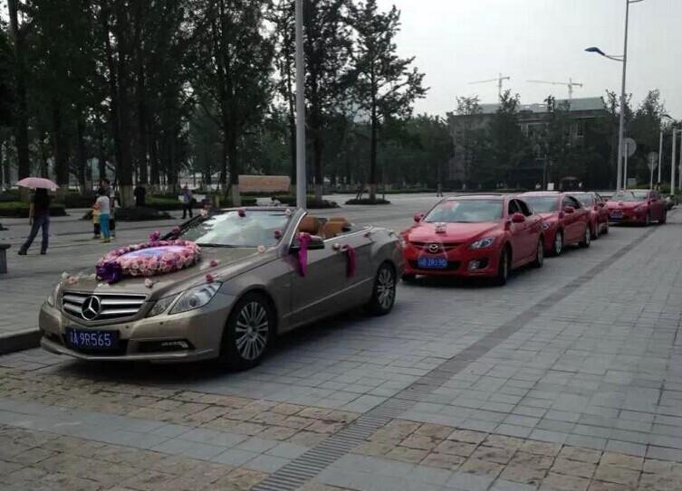 """哈尔滨租车-婚庆案例:""""敞篷奔驰E260+马6车队"""" 圆满顺利结束"""