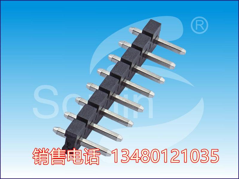 5.08排针 Pin Header,1*2P,S/T,双塑反向,镀锡