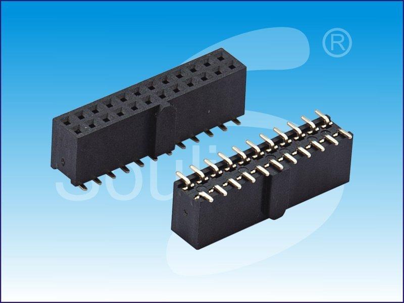 PF2.0 2X10P H6.35 带全凸 W4.8 90度 PC2.8 PA6T。排母连接器