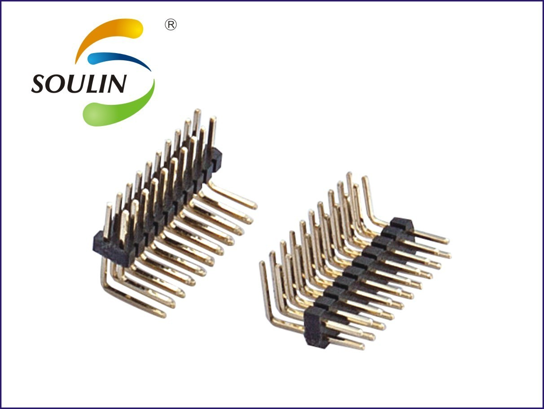 深圳厂家直销1.27mm间距双排弯插型90度排针连接器产品详情介绍