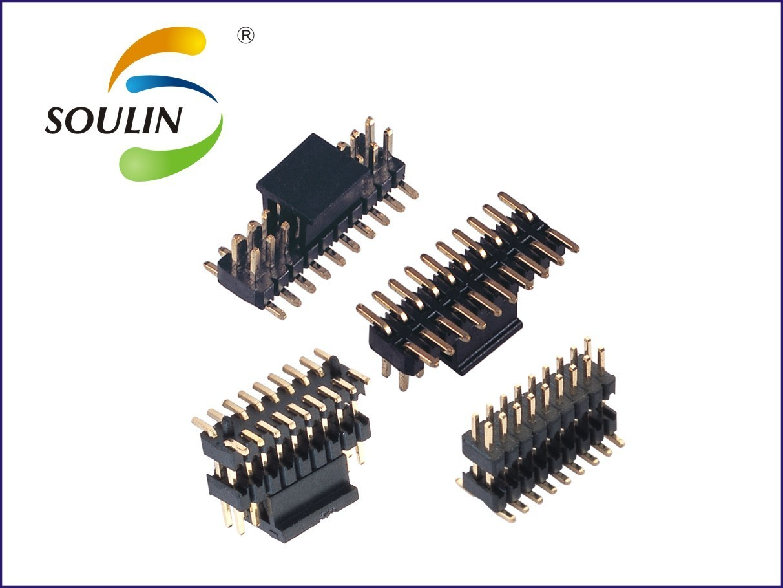 厂家直销1.27mm间距双排卧贴带内柱排针连接器产品详情介绍
