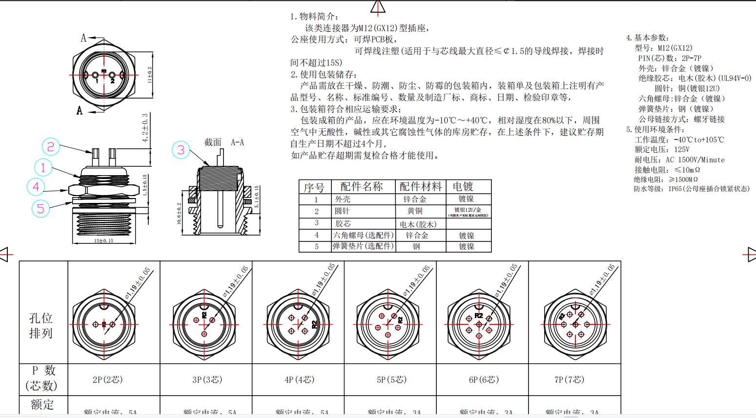 航空头公座 M12(GX12)线端 2P-7P系列图