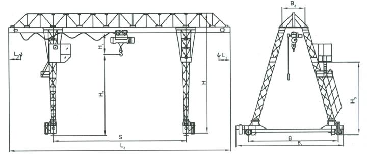 3~10吨电动葫芦门式起重机