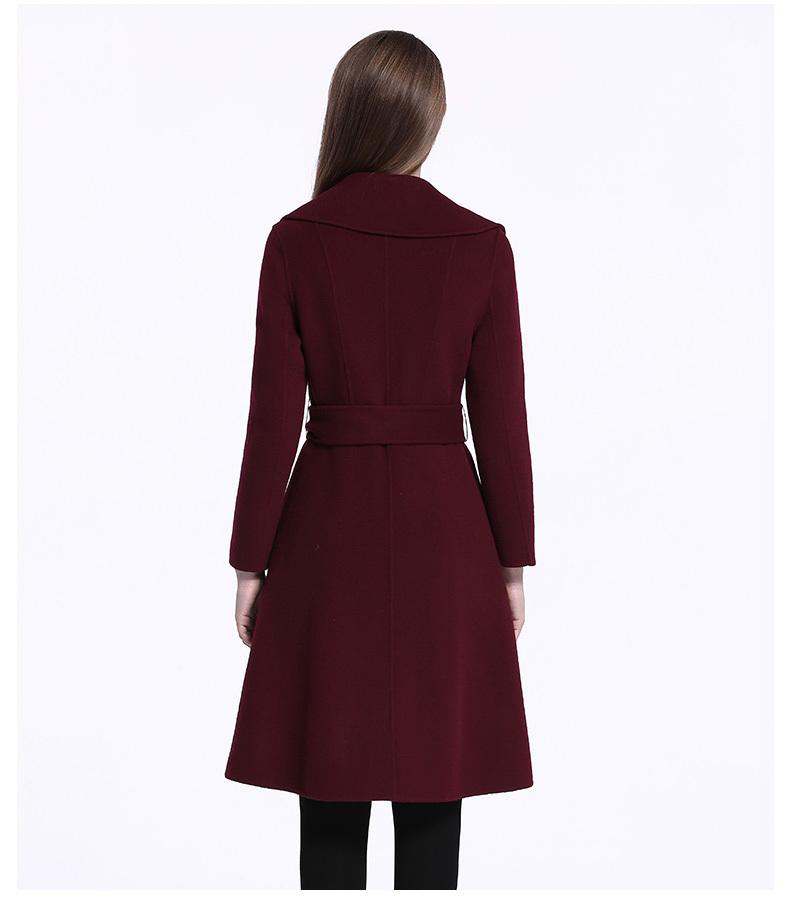 重庆女士双面呢大衣定制_酒红色大翻领双面呢大衣