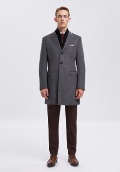 男士灰色单排扣经典大衣