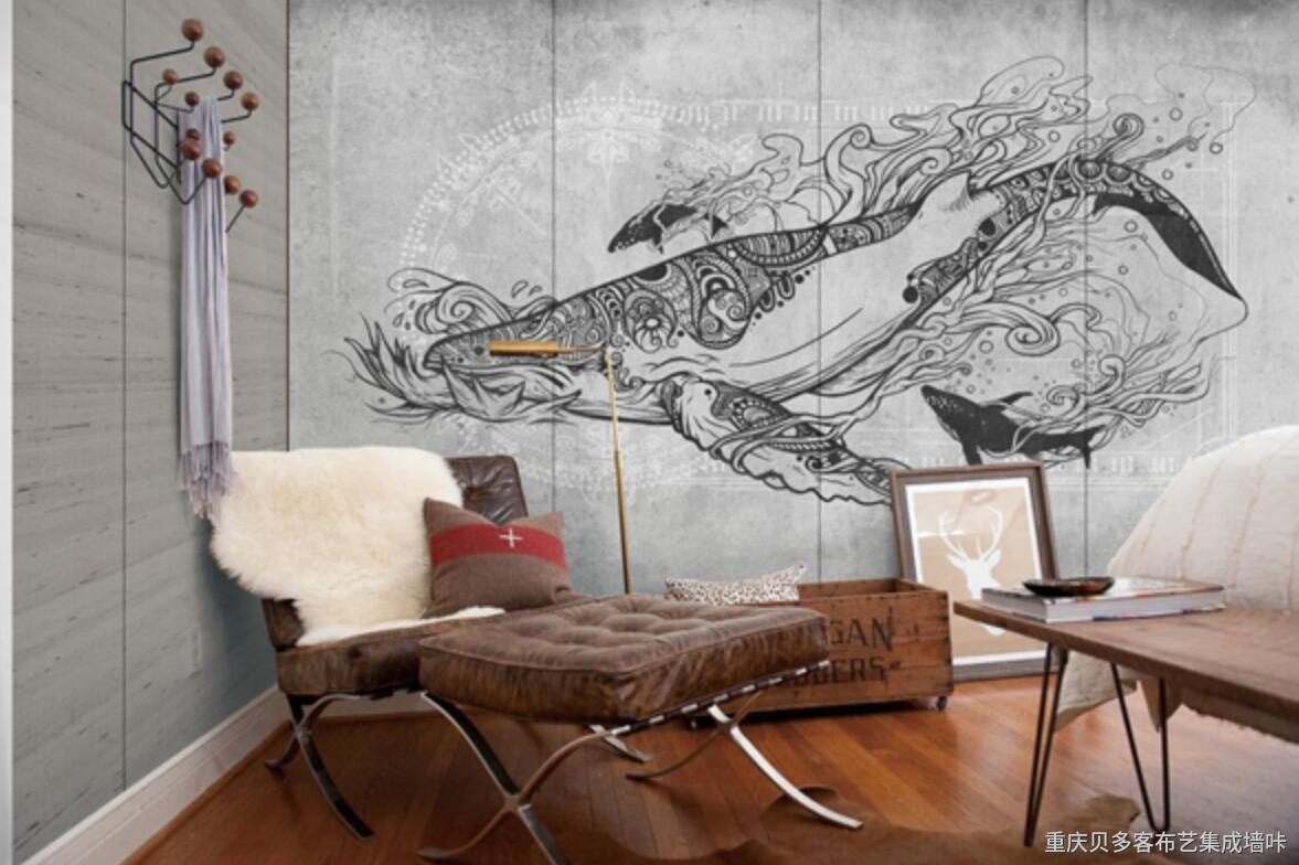 现代轻奢简约欧式动物背景墙