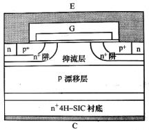 平面栅p沟IGBT元胞结构示意图