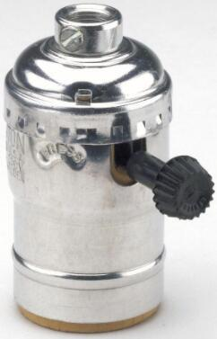 Nickel lamp socket 2-Circuit Turn Knob Aluminum Shell