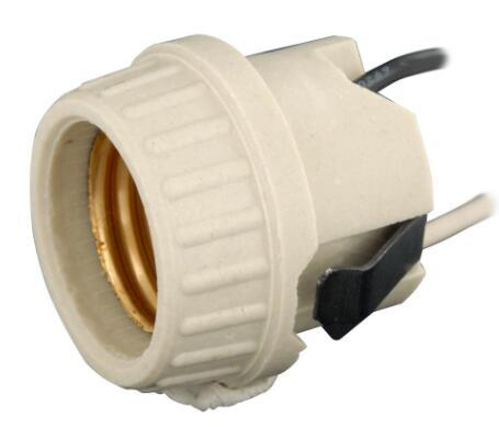 Threaded ceramic light socket OEM China manufacturer