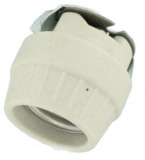 Single Circuit Front Mount Unglazed Porcelain light bulb socket