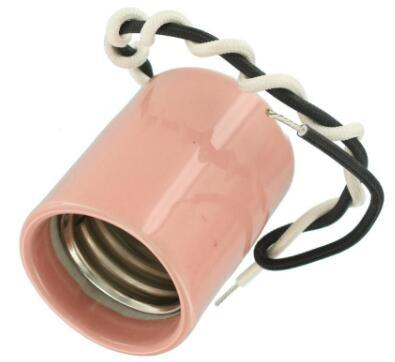 Pink E26 porcelain light socket