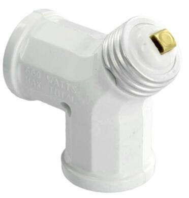 660-Watt white twin light socket adapter