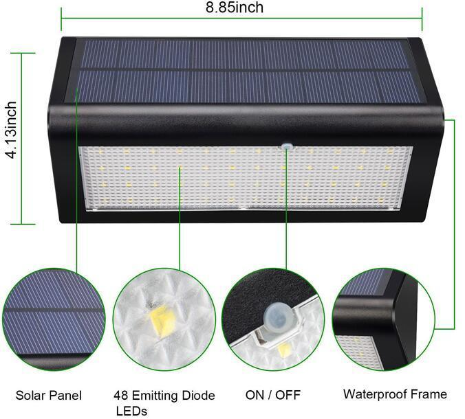 wall mounted solar lights IP65 Waterproof 48 LED Motion Sensor solar garden wall lights