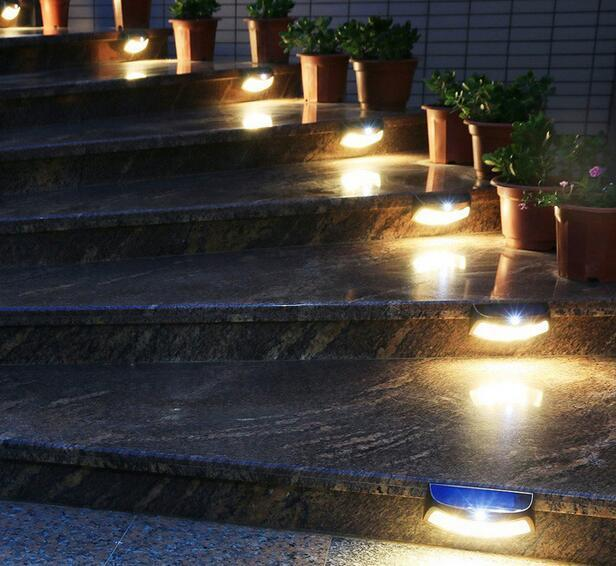 Stair solar step lights for garden