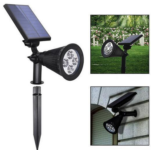 4 LED Adjustable RGB Color Changing colored solar spot lights