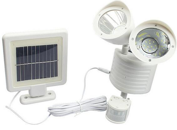 white solar motion sensor flood light