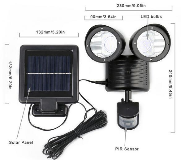 solar motion sensor flood light technical diagarm size