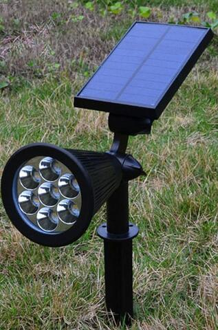 Waterproof LED solar powered lawn lights with Ground Spike