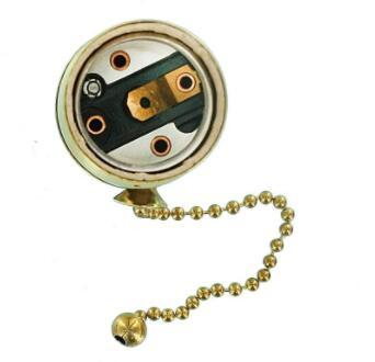 E26 Antique brass light socket with pull chain