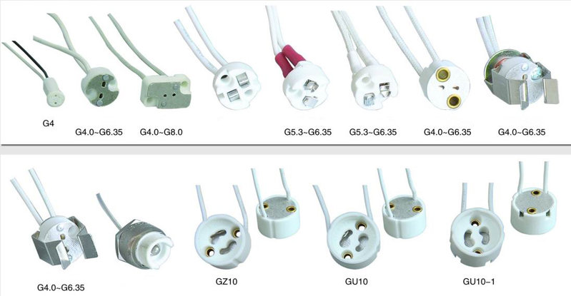 Porcelain gz10 lamp holder with 21cm leads types