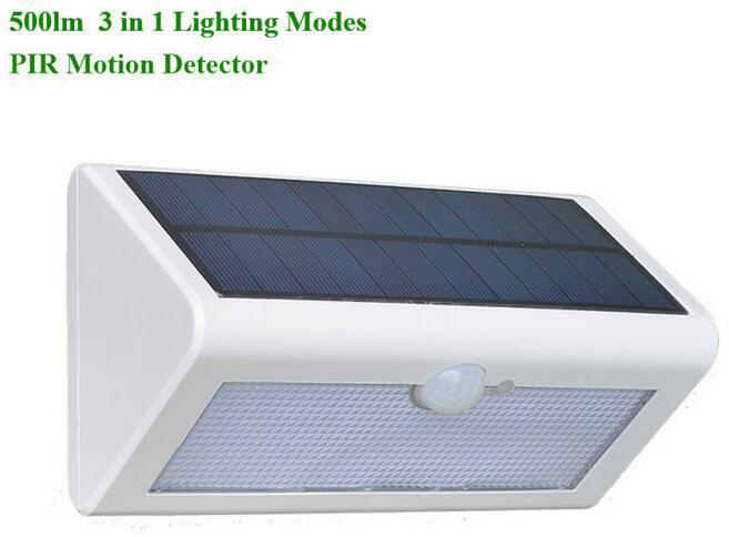 4 watt white outdoor solar wall lights with PIR Motion Sensor