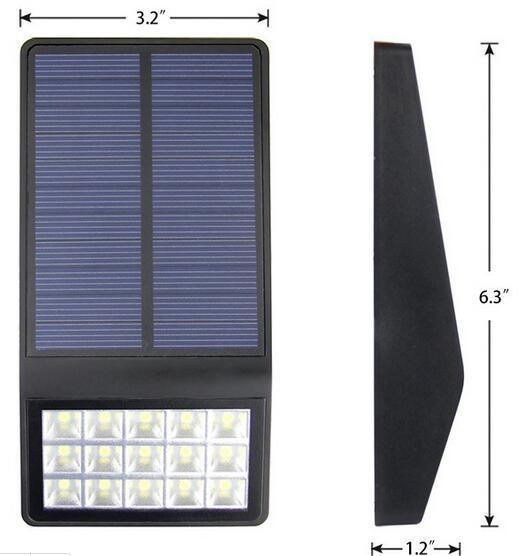 15LED solar wall lights size