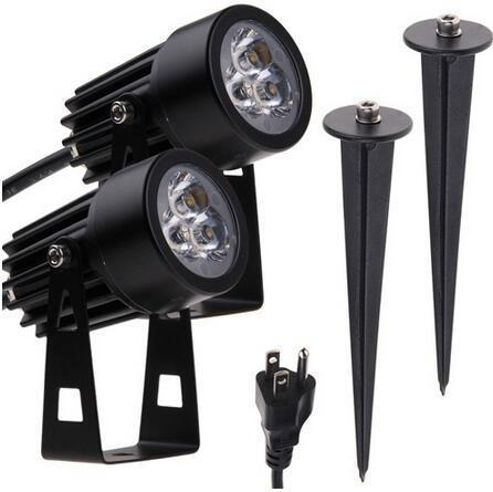 3x1W LED solar powered spotlights outdoor