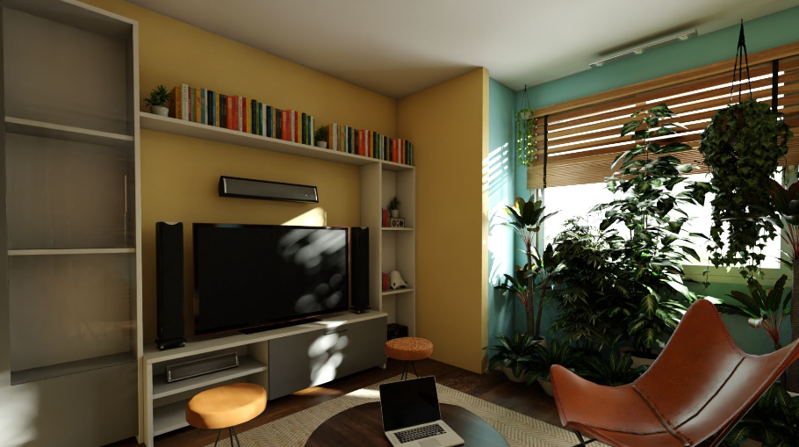 一室一厅混搭风格装修效果图——电视背景效果图