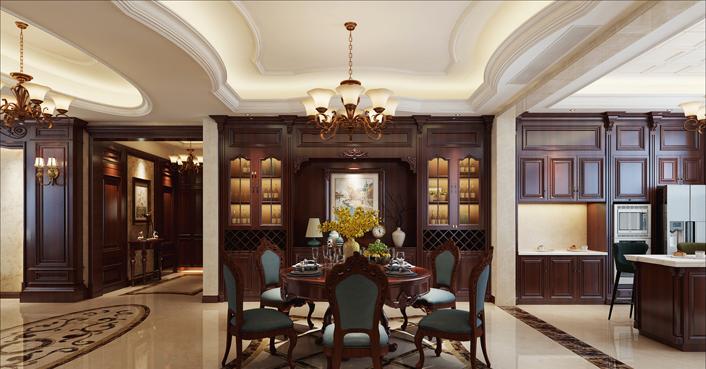 重庆旧房装修案例_360平米美式风格装修效果图952.