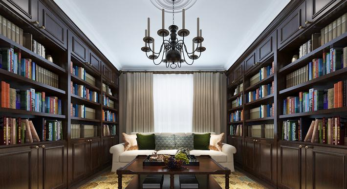 重庆旧房改造案例_94平米美式风格装修效果图44.