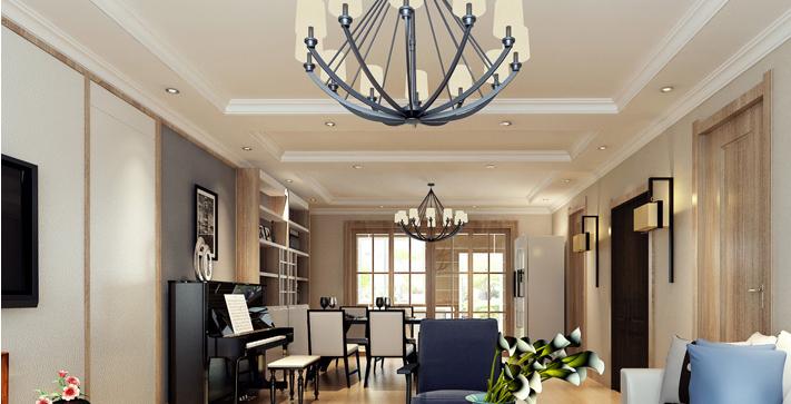 重庆新房装修案例_154平米小美式风格装修效果图49.
