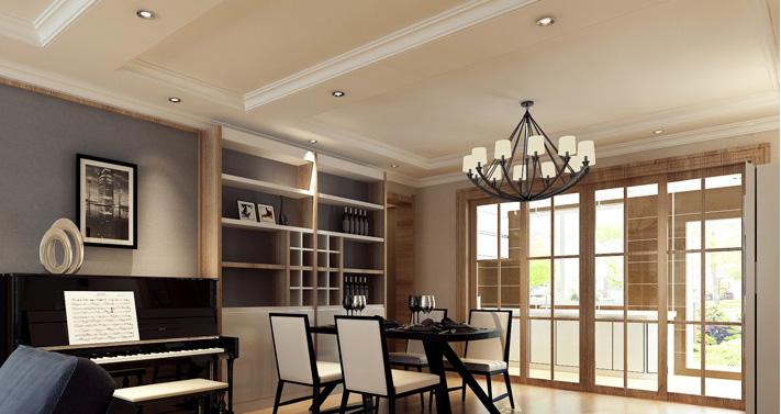 重庆新房装修案例_154平米小美式风格装修效果图42.