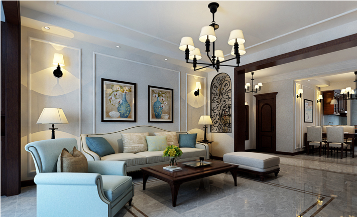 重庆新房装修案例_120平米美式风格装修效果图11.