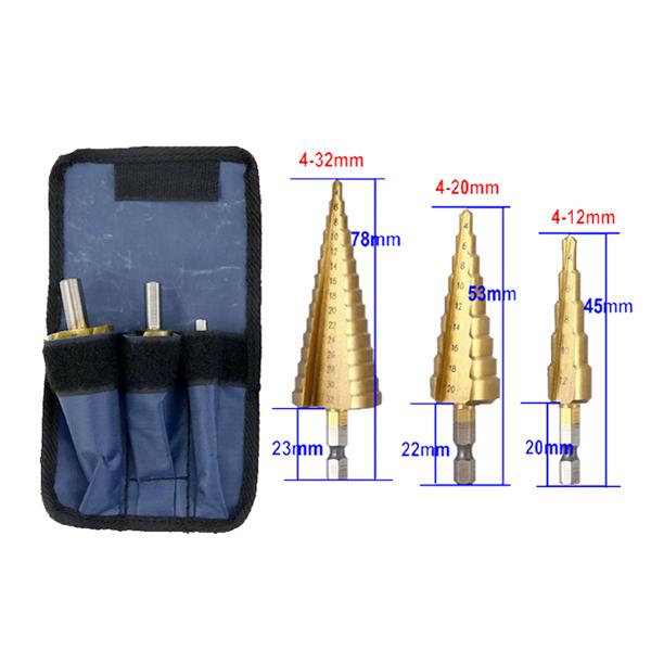 hot sell titanium step drill bit hss stepped drill bits set