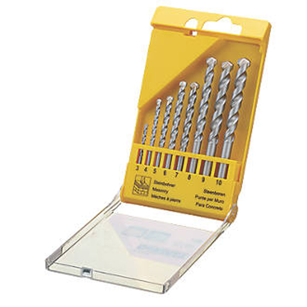 STRAIGHT SHANK MASONRY DRILL BIT SET 8PCS